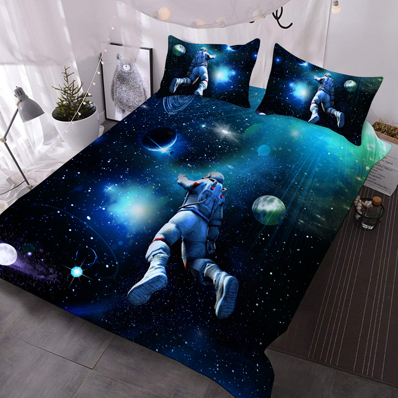 3D Outerspace Astronaut Lightweight Warm Soft 3Pcs Bedding Down Comforter Insert with 2 Pillow Cases