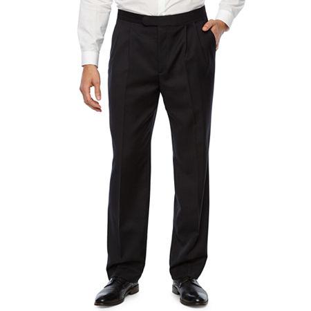 Stafford Pleated Tuxedo Pants, 30 29, Black