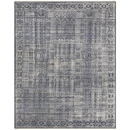 Nobility NBI-2302 2' x 3' Rectangle Traditional Rug in Dark Blue  Ink  Taupe  Silver