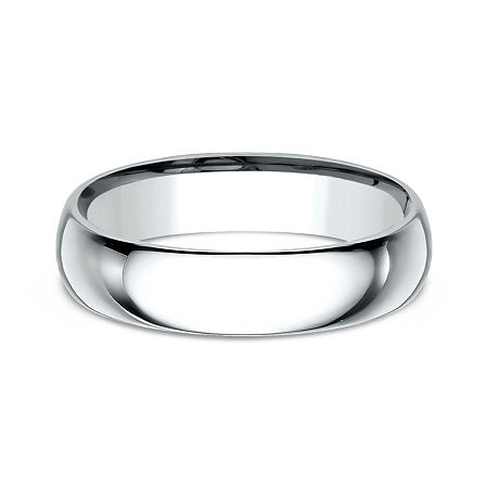 Mens 10K White Gold 5MM Comfort-Fit Wedding Band, 8 1/2 , No Color Family