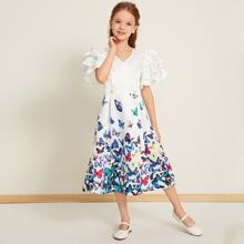 Girls Surplice Neck Exaggerate Ruffle Sleeve Butterfly Satin Dress
