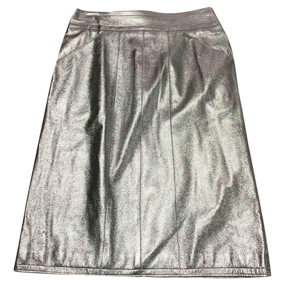 Chanel \N Rocke in  Silber Leder