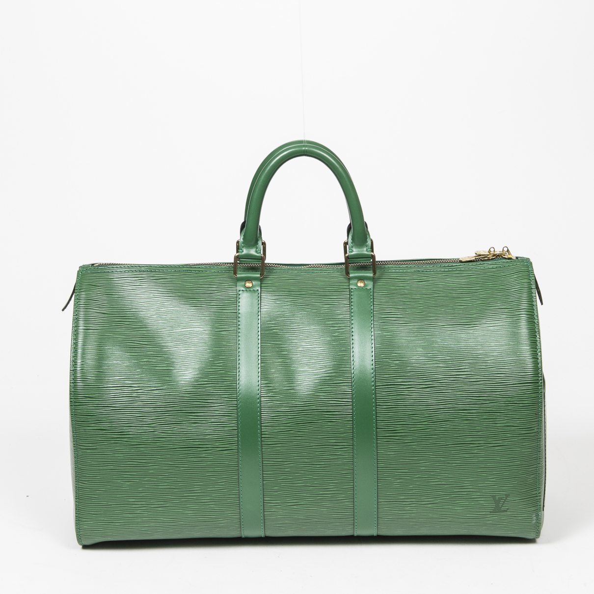 Louis Vuitton Keepall Reisetasche in  Gruen Leder
