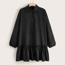 Vestido estilo camisa bajo fruncido ribete fruncido - grande