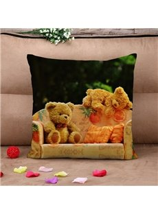 Sweet Teddy Bears Warm Cotton Throw Pillow Case