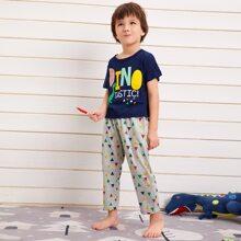 Toddler Boys Letter & Geo Print PJ Set