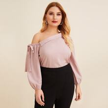 Plus Asymmetrical Neck Knotted Top