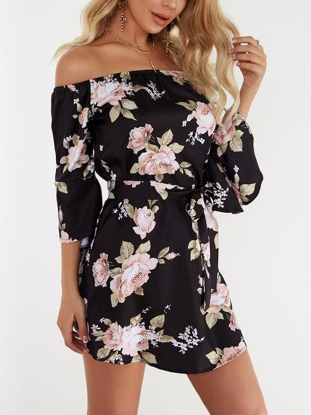 Yoins Black Lace-up Design Floral Print Off The Shoulder Long Sleeves High-waisted Dress