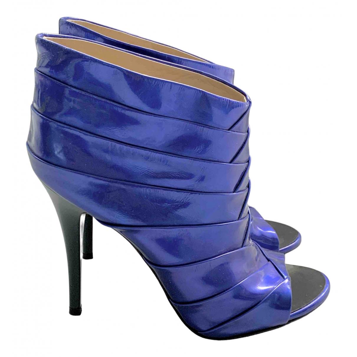 Giuseppe Zanotti - Boots   pour femme en cuir verni - bleu