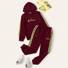 Kapuzenpullover mit Buchstaben Grafik & Jogginghose mit seitlichem Streifen Set