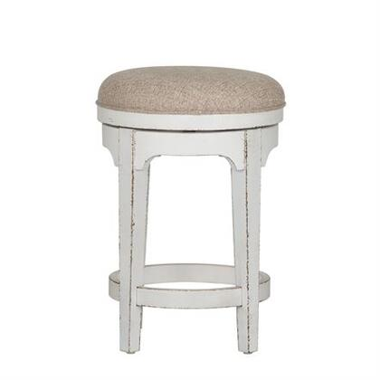 Magnolia Manor Collection 244-OT9003 Swivel Stool with French and English Dovetail Construction  Nylon Chair Glides   and Heavy Distress in Antique