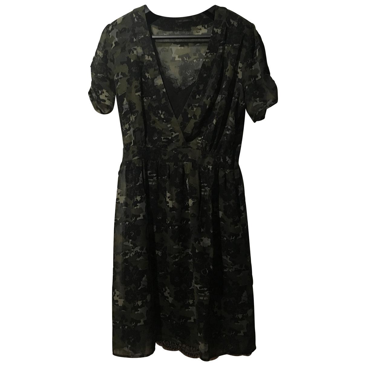 Ikks - Robe   pour femme en soie - kaki