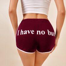 Slogan Graphic Contrast Binding Dolphin Shorts