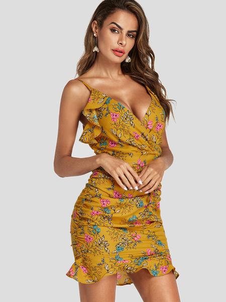 Yoins Random Floral Ruched Bodycon Hem Mini Dress