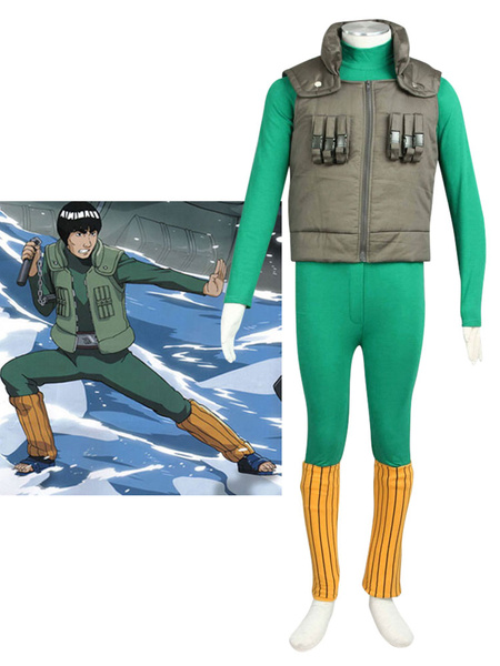 Milanoo Naruto Shippuden Might Guy Halloween Cosplay Costume