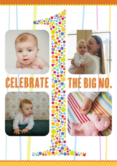 1st Birthday Invitations 5x7 Cards, Premium Cardstock 120lb, Card & Stationery -The Big No 1 Birthday