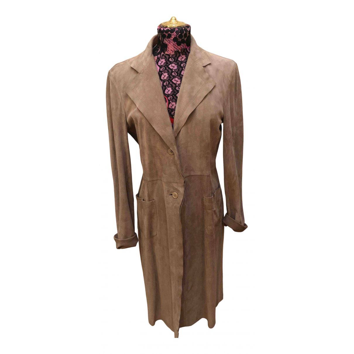 Non Signé / Unsigned N Beige Suede coat for Women 48 IT