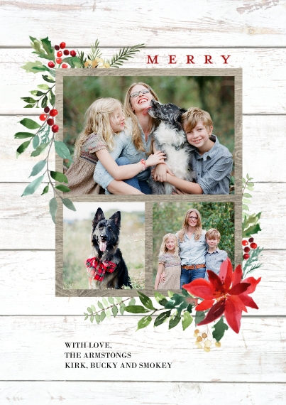 Christmas Photo Cards 5x7 Cards, Standard Cardstock 85lb, Card & Stationery -Christmas Woodgrain Merry Foliage by Tumbalina