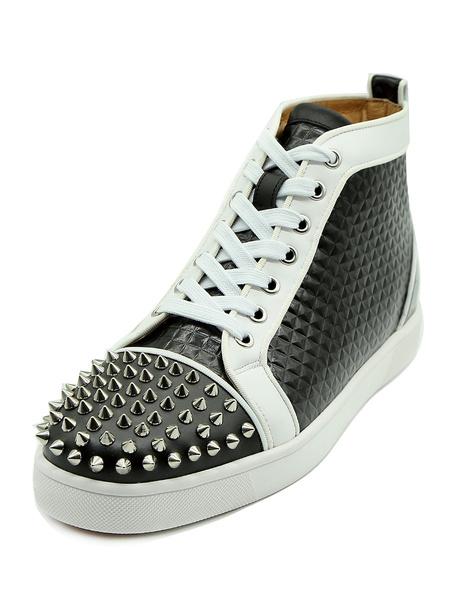 Milanoo Las zapatillas de deporte blancas de los hombres ponen en forma de estrella el top de los remaches
