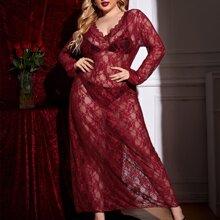 Plus Floral Lace Scalloped Trim Dress & Thong