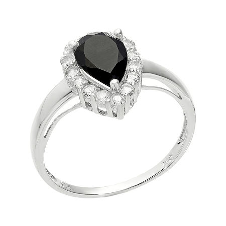 Pear-Shaped Genuine Black Onyx and White Topaz Ring, 9 , No Color Family