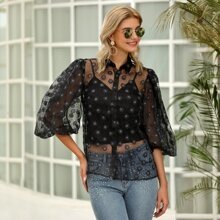 D&M Lantern Sleeve Floral Sheer Organza Blouse Without Cami