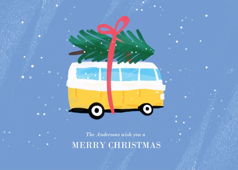 Christmas Photo Cards 5x7 Folded Cards, Standard Cardstock 85lb, Card & Stationery -Van Christmas Tree