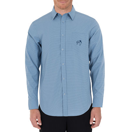 Guy Harvey Mens Long Sleeve Moisture Wicking Plaid Button-Down Shirt, Xx-large , Blue