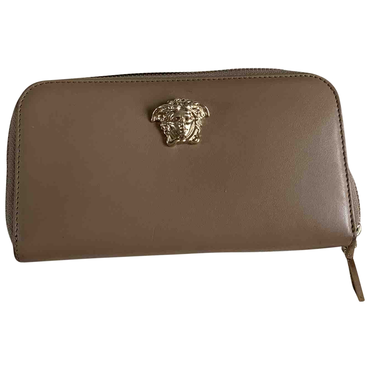 Versace - Portefeuille   pour femme en cuir - beige