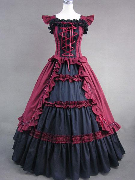 Milanoo Disfraz Halloween Victoriana algodon rojo Retro Maxi vestido de volantes traje Vintage Vestido de mujer Halloween