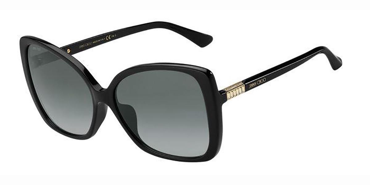 Jimmy Choo BECKY/F/S Asian Fit 807/9O Women's Sunglasses Black Size 60