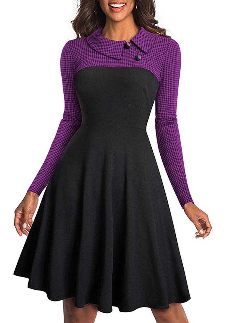Ericdress Long Sleeves Patchwork Knee-Length Long Sleeve A-Line Dress