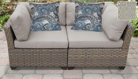 Monterey Collection MONTEREY-02a-ASH 2-Piece Patio Wicker Loveseat with 2x Corner Chairs - Beige and Ash
