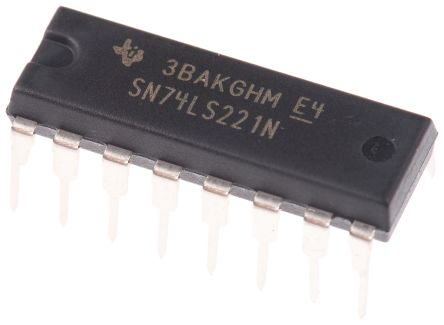 Texas Instruments SN74LS221N, Dual Monostable Multivibrator 8mA, 16-Pin PDIP