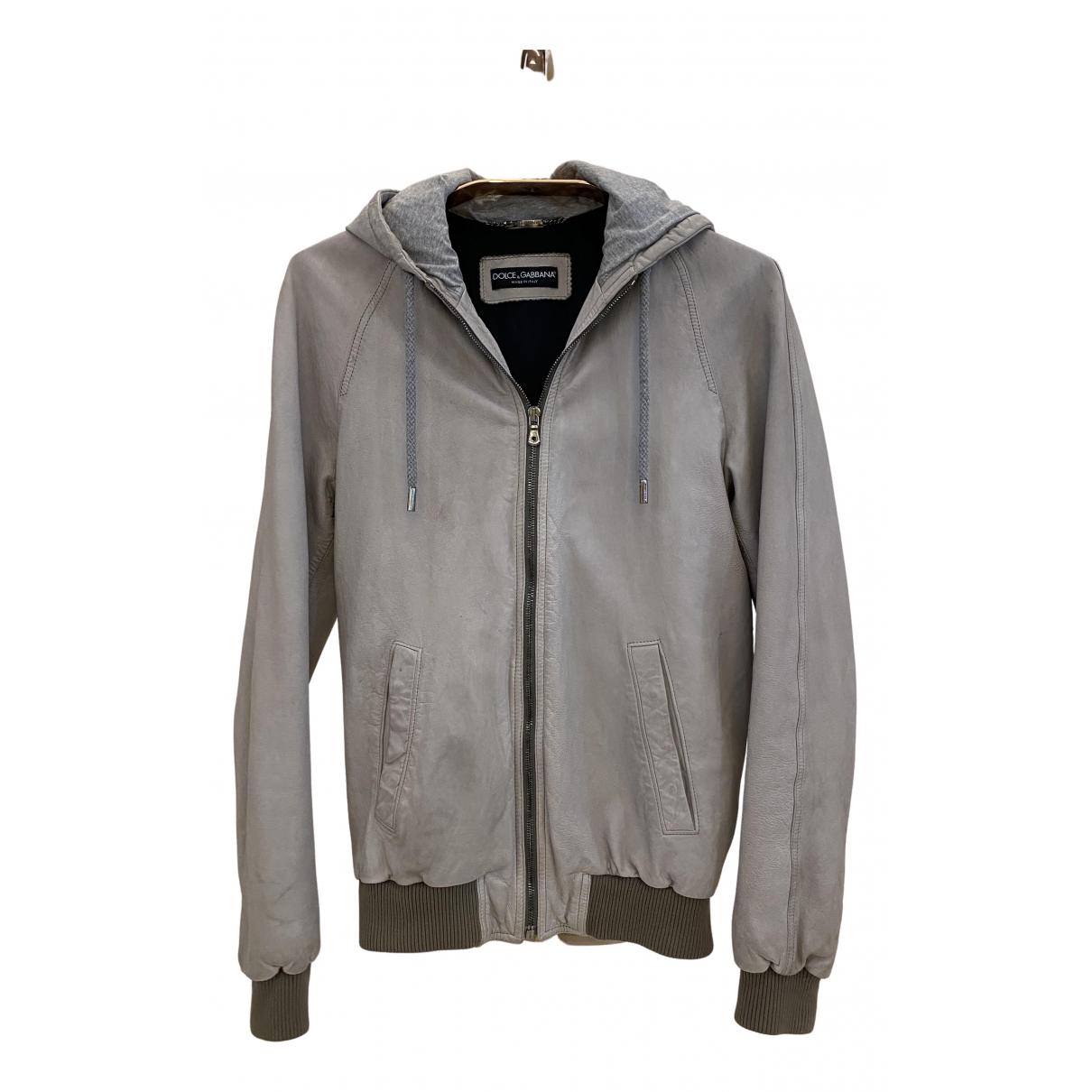 Dolce & Gabbana - Vestes.Blousons   pour homme en cuir - gris