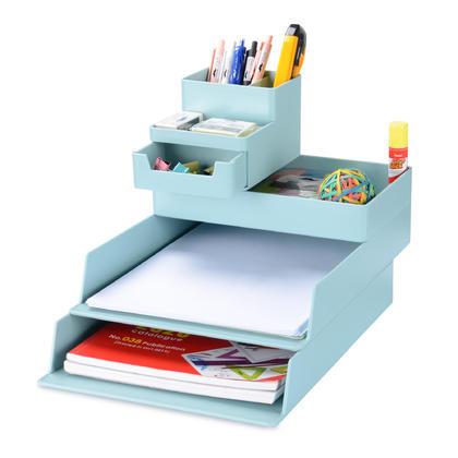 Organisateur de plateau empilable de bureau pour bureau à domicile, 5 niveaux, plastique - Vert