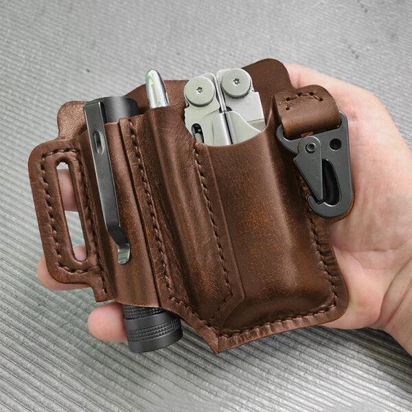 Men Vintage EDC Genuine Leather Flashlight Pen Multitool Keychain Waist Bag Belt Sheath
