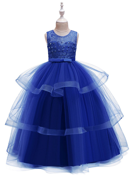 Milanoo Flower Girl Dresses Jewel Neck Tulle Sleeveless Ankle Length Princess Silhouette Kids Social Party Dresses