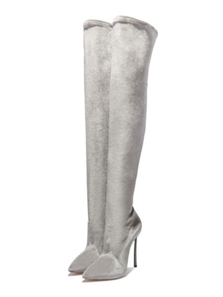 Milanoo Botas sobre la rodilla Tela elastica Punta puntiaguda de rosas Tacon de aguja Botas altas hasta el muslo