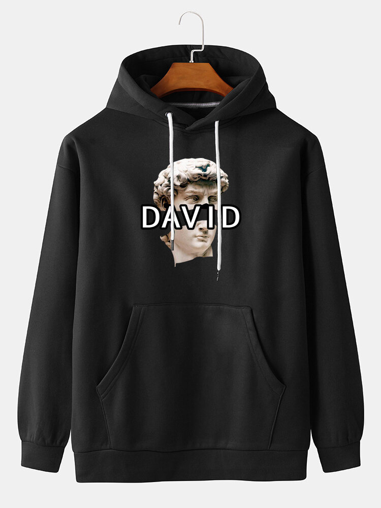 Mens David Letter Print Casual Loose Pullover Solid Hoodie