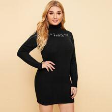 Pullover Kleid mit Trichterhals und Buchstaben Muster
