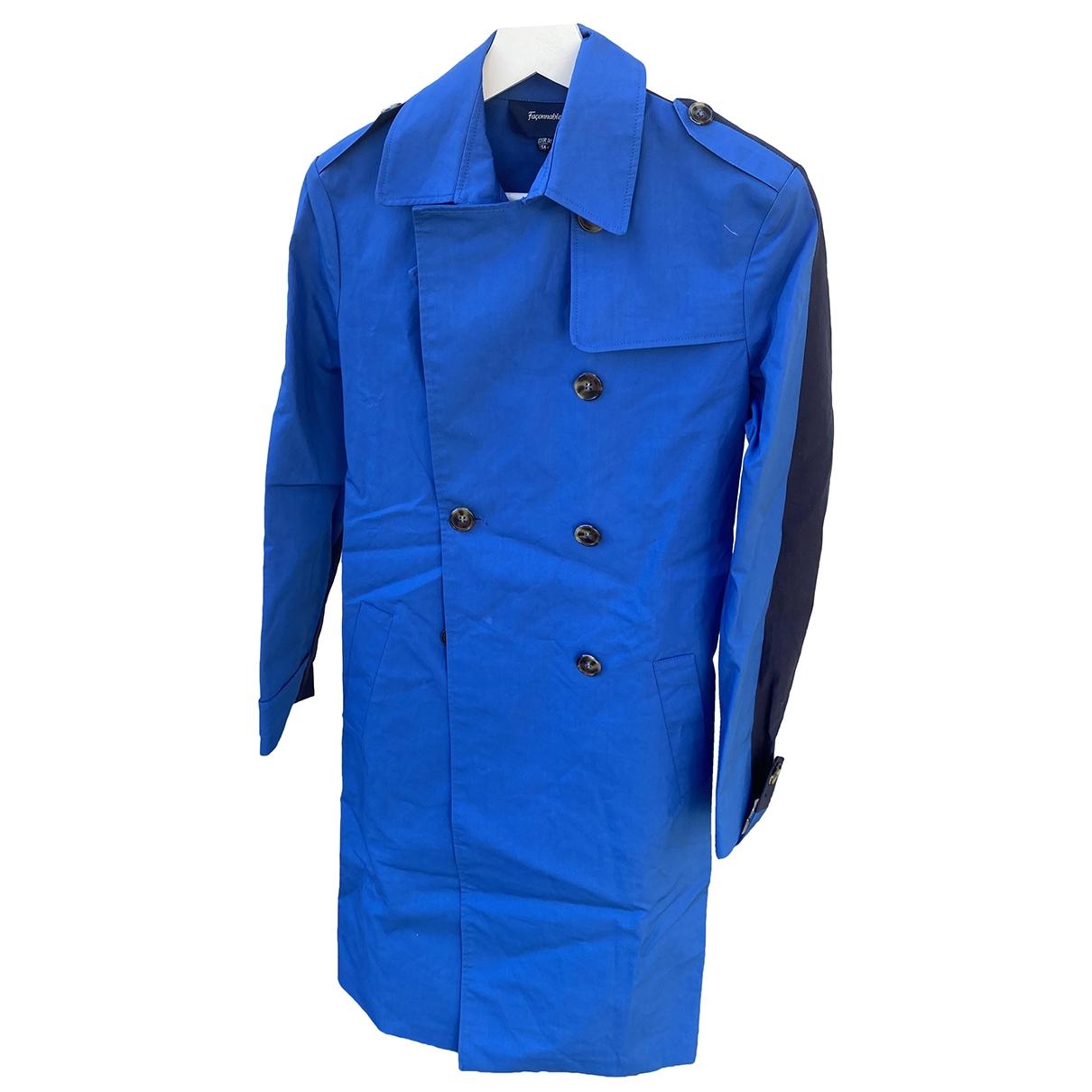Faconnable - Trench   pour femme en coton - bleu