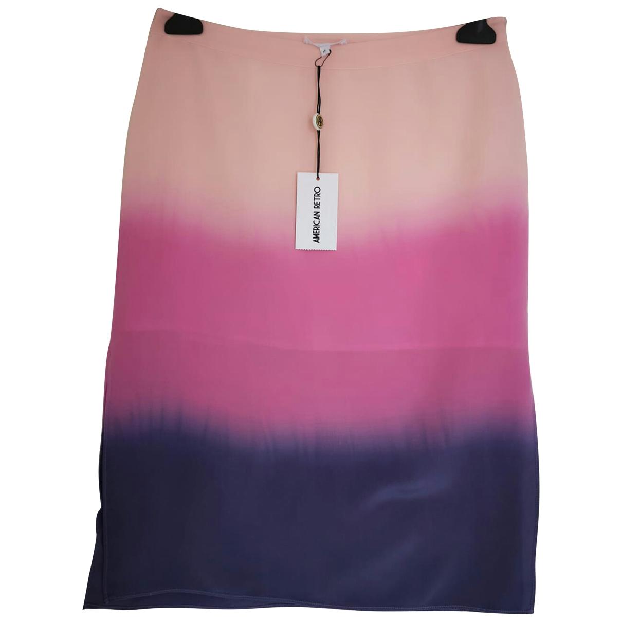 American Retro - Jupe   pour femme en soie - rose