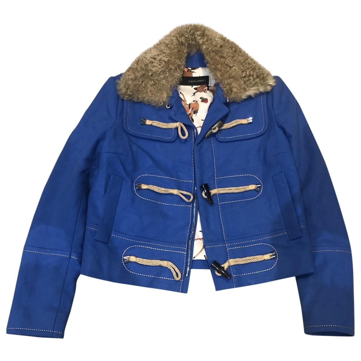 Dsquared2 - Manteau   pour femme en laine - bleu