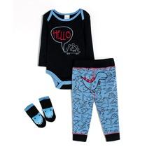 Body & Jogginghose & Socken mit Dinosaurier und Buchstaben Grafik
