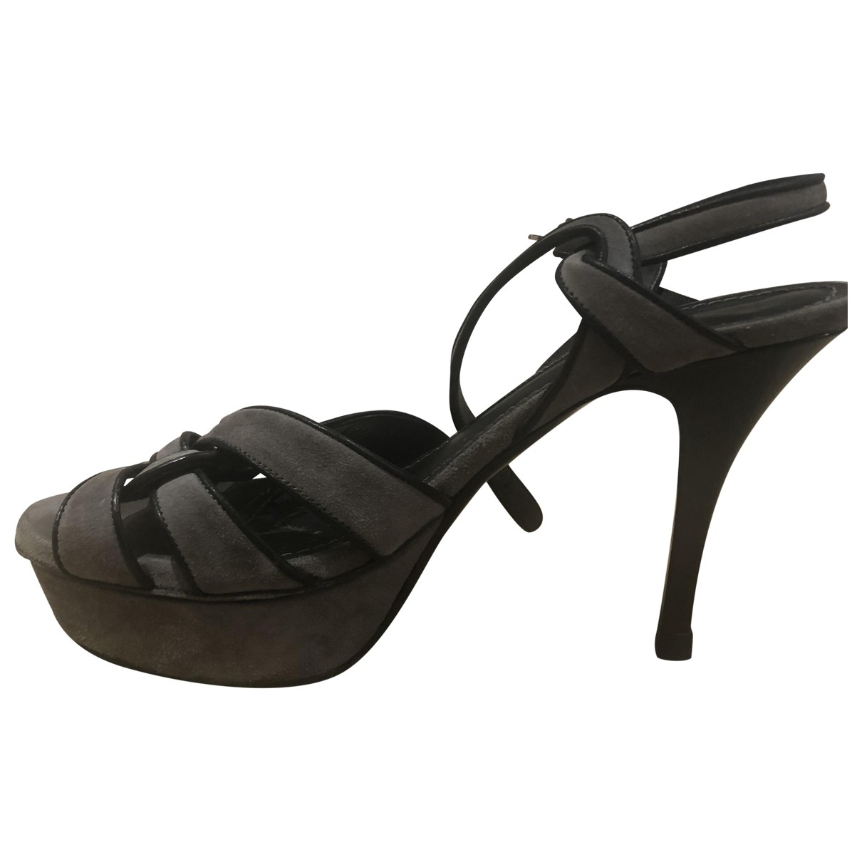Yves Saint Laurent Tribute Grey Suede Sandals for Women 37 EU