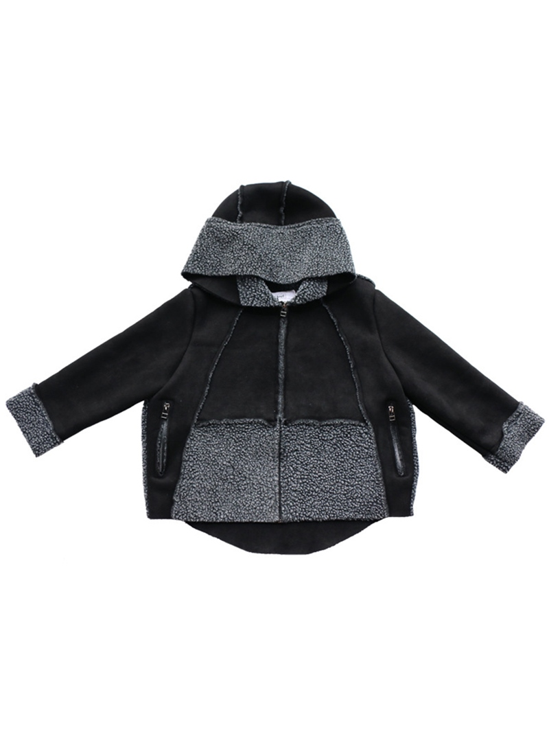 Ericdress Fleece Patchwork Hooded Zipper Girls' Overcoat