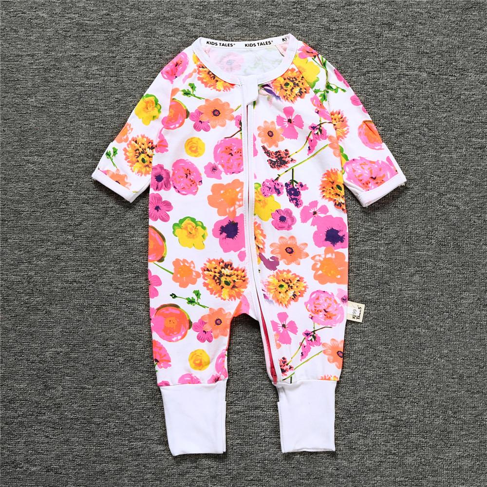 3 Pattern For Choice Long Sleeve Cotton Material Zipper Infant Jumpsuit/ Baby Bodysuit