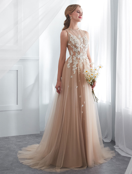 Milanoo Champagne Wedding Dresses Lace Tulle Illusion Long Prom Dress With Train
