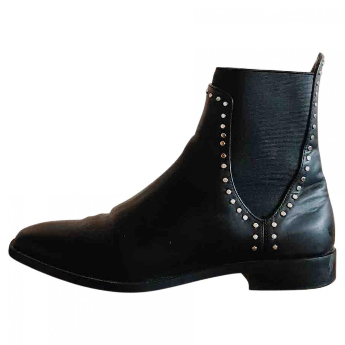 Zara \N Black Leather Boots for Women 40 EU